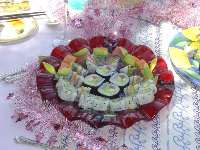 Sushi celebration in handmade platter
